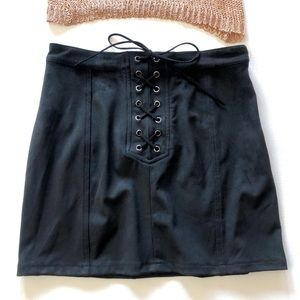 Dresses & Skirts - Lace-Up Black Suede Mini Skirt